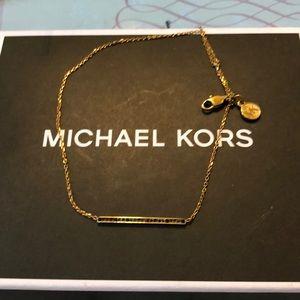 Michael Kors pave bar gold tone necklace